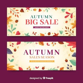 Ręcznie rysowane szablon sprzedaż jesień banery
