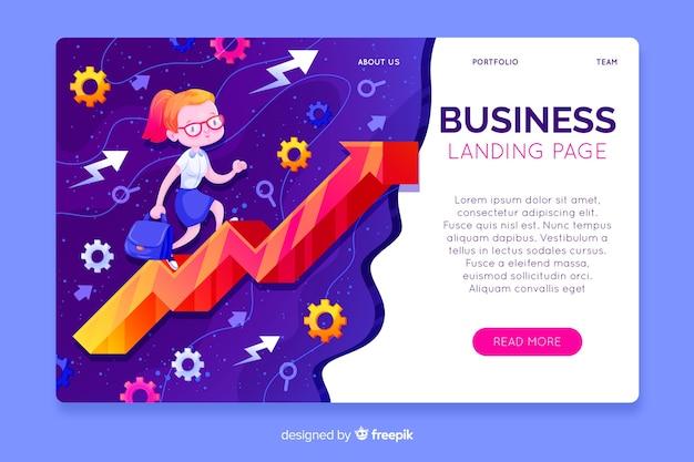 Ręcznie rysowane szablon strony docelowej biznesu