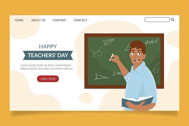 Ręcznie rysowane szablon strony docelowej dla nauczycieli