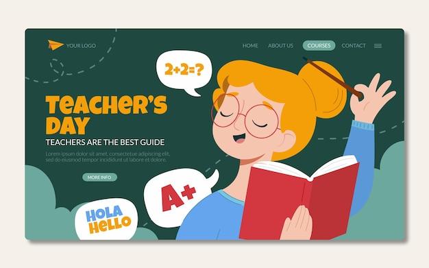 Ręcznie rysowane szablon strony docelowej dnia nauczyciela płaskiego