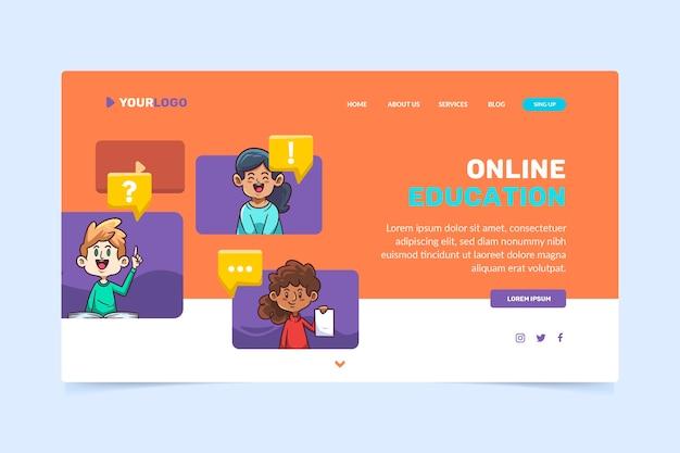 Ręcznie rysowane szablon strony docelowej do nauki online