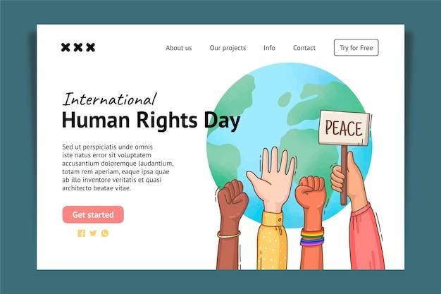 Ręcznie rysowane szablon strony docelowej międzynarodowego dnia praw człowieka