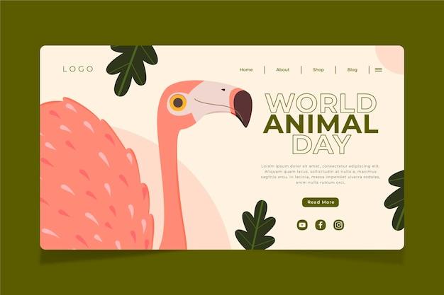 Ręcznie rysowane szablon strony docelowej płaskiego świata zwierząt