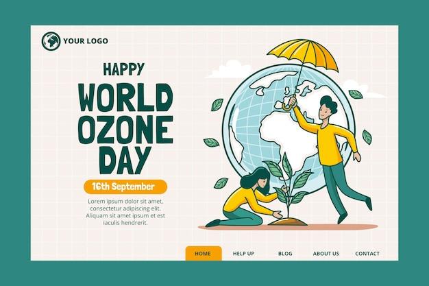 Ręcznie rysowane szablon strony docelowej światowego dnia ozonu