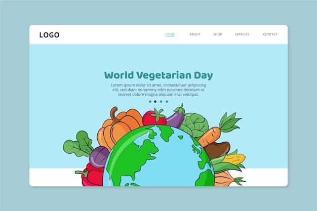 Ręcznie rysowane szablon strony docelowej światowego dnia wegetariańskiego