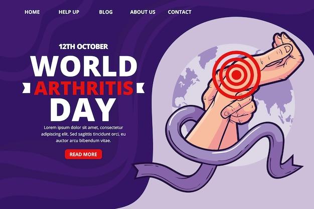 Ręcznie rysowane szablon strony docelowej światowego dnia zapalenia stawów