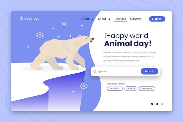 Ręcznie rysowane szablon strony docelowej światowego dnia zwierząt