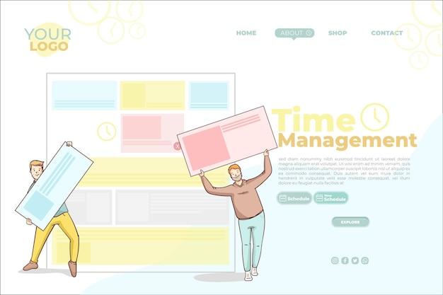 Ręcznie rysowane szablon strony docelowej zarządzania czasem