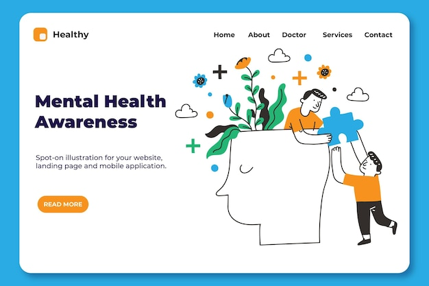 Ręcznie rysowane szablon strony docelowej zdrowia psychicznego