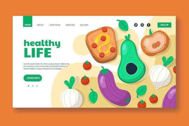 Ręcznie rysowane szablon strony docelowej żywności wegetariańskiej
