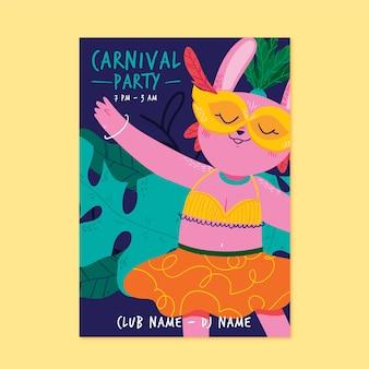 Ręcznie rysowane szablon strony karnawałowe plakat