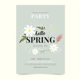 Ręcznie rysowane szablon strony wiosny plakat