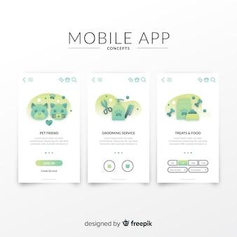 Ręcznie rysowane szablon transparent aplikacji mobilnych
