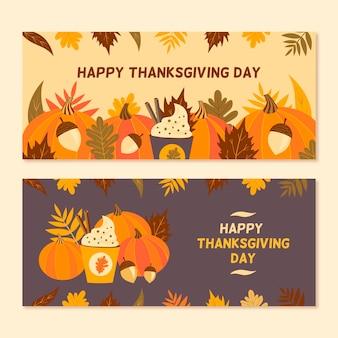 Ręcznie rysowane szablon transparent dziękczynienia