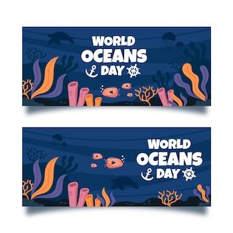 Ręcznie rysowane szablon transparent dzień oceanu