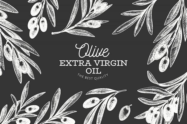 Ręcznie rysowane szablon transparent gałązką oliwną.