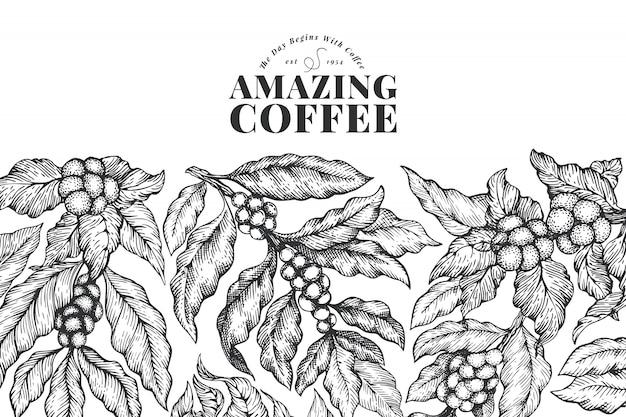 Ręcznie rysowane szablon transparent kawy.