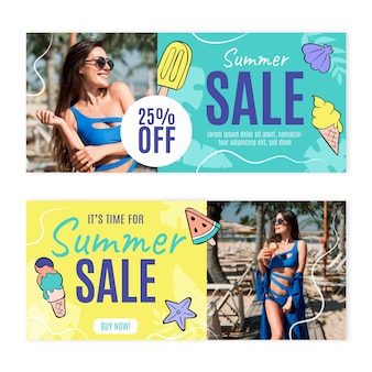 Ręcznie rysowane szablon transparent letniej sprzedaży ze zdjęciem