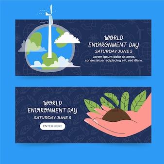 Ręcznie rysowane szablon transparent światowego dnia środowiska