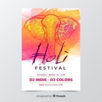 Ręcznie rysowane szablon ulotki festiwal holi