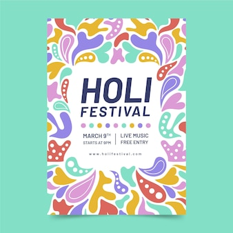 Ręcznie rysowane szablon ulotki festiwalu holi