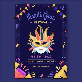 Ręcznie rysowane szablon ulotki mardi gras