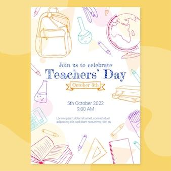 Ręcznie rysowane szablon ulotki pionowej dnia nauczyciela