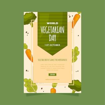 Ręcznie rysowane szablon ulotki pionowej światowego dnia wegetariańskiego