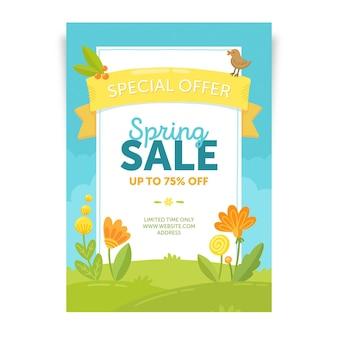 Ręcznie rysowane szablon ulotki sprzedaż wiosna