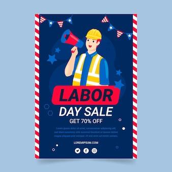 Ręcznie rysowane szablon ulotki sprzedaży pionowej święto pracy