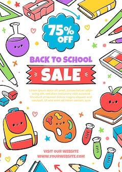 Ręcznie rysowane szablon ulotki sprzedaży pionowej z powrotem do szkoły