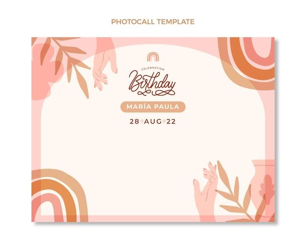 Ręcznie rysowane szablon urodzinowy photocall
