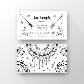 Ręcznie rysowane szablon wizytówki boho