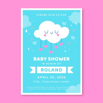 Ręcznie rysowane szablon zaproszenia baby shower z chuva de amor