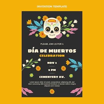 Ręcznie rysowane szablon zaproszenia dia de muertos
