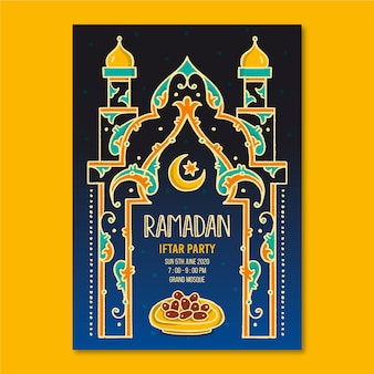 Ręcznie rysowane szablon zaproszenia do iftar