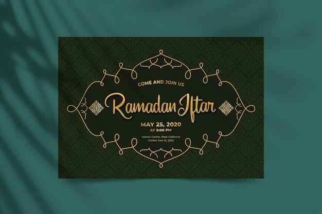 Ręcznie rysowane szablon zaproszenia iftar indian