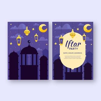 Ręcznie rysowane szablon zaproszenia iftar