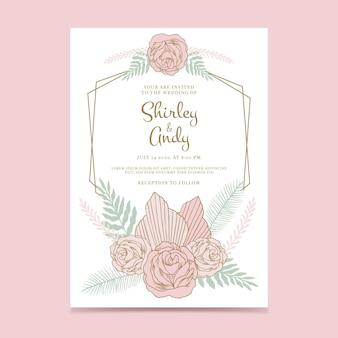 Ręcznie rysowane szablon zaproszenia ślubne boho