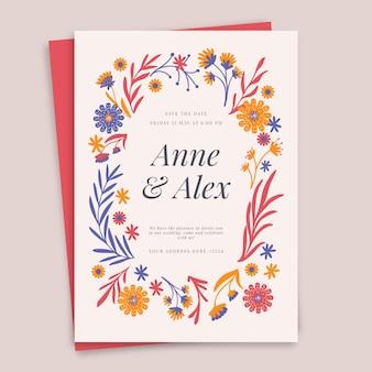Ręcznie rysowane szablon zaproszenia ślubne kwiatowy