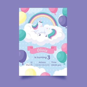 Ręcznie rysowane szablon zaproszenia urodzinowe jednorożca