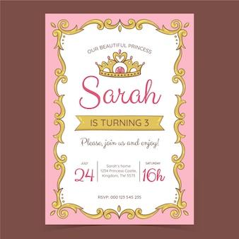 Ręcznie rysowane szablon zaproszenia urodzinowe księżniczki