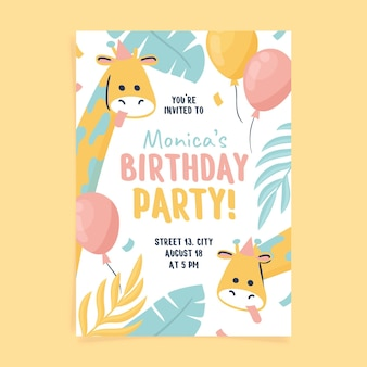 Ręcznie rysowane szablon zaproszenia urodzinowe zwierząt