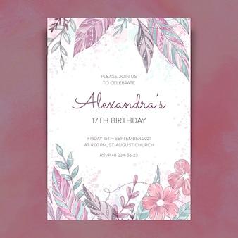 Ręcznie rysowane szablon zaproszenia urodzinowego boho