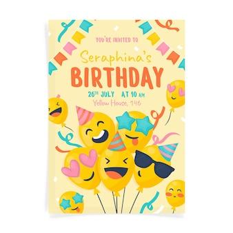 Ręcznie rysowane szablon zaproszenia urodzinowego emoji