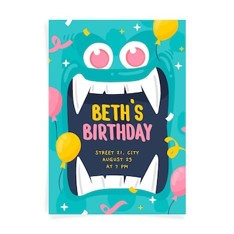 Ręcznie rysowane szablon zaproszenia urodzinowego potwora