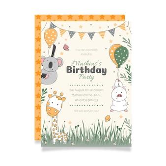 Ręcznie rysowane szablon zaproszenia urodzinowego zwierząt