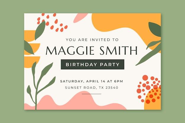 Ręcznie rysowane szablon zaproszenia urodzinowego