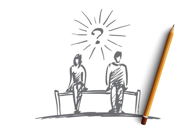 Ręcznie rysowane szachy para pytanie szkic koncepcji