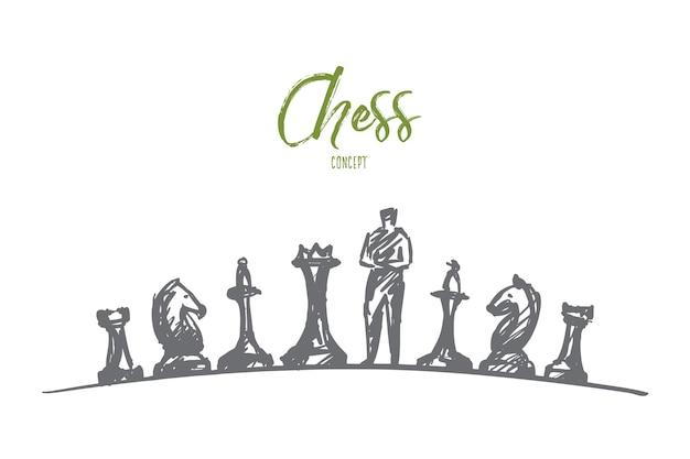 Ręcznie rysowane szachy szkic koncepcji